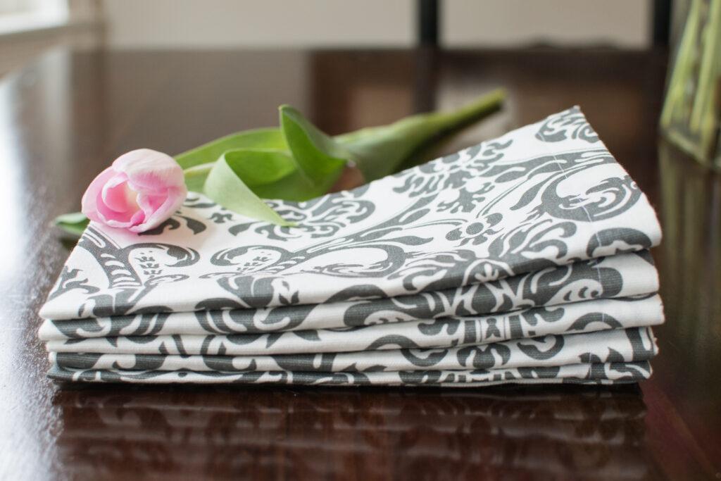 damask easy diy napkin sewing tutorial mitered corners