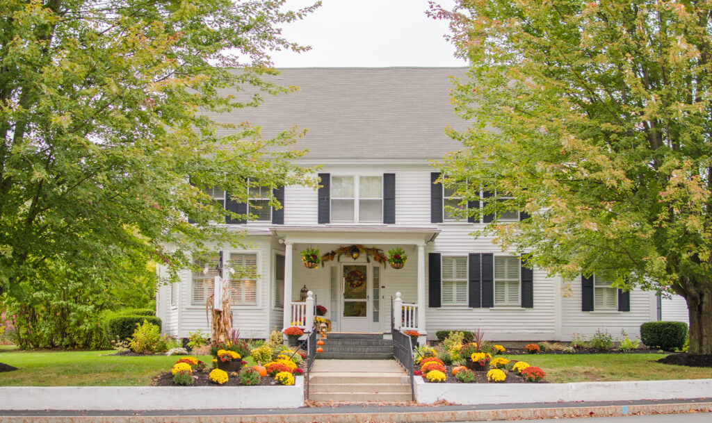 fall front porch decor stunning with mums on white house black shutters